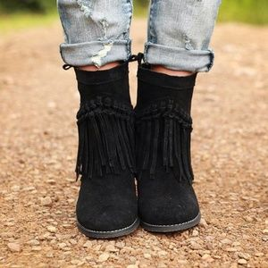 Black Distressed Knotted Fringe Boho Slouchy Boots